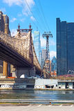 Queensboro Bridge and Lower Manhattan from Roosevelt Island. Royalty Free Stock Photography