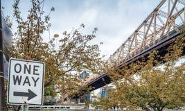Queensboro Bridge in New York City with street sign.  Stock Photo