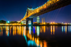 The Queensboro Bridge at night, seen from Roosevelt Island, New Royalty Free Stock Images
