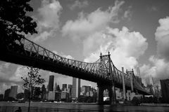 Queensboro bridge over the river and buildings in black and white style Royalty Free Stock Photos