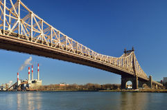 Queensboro Bridge and Ravenswood Generating Station. Stock Photography