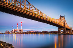 Queensboro bridge and Ravenswood station Royalty Free Stock Images