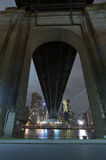 Queensboro Bridge, Roosevelt Island, New York City. Night scene Under The Queensboro Bridge, Roosevelt Island, New York City stock image