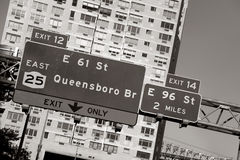 Queensboro bridge sign Stock Photo