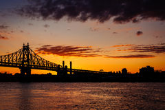 The Queensboro Bridge at sunrise, seen from Roosevelt Island, Ne Stock Photography
