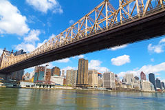 Queensboro Bridge and view on Manhattan from Roosevelt Island in spring. Stock Photos