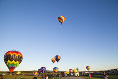 Queensbury NY : Balloonists and spectators gather for the 2016 A. Dirondack  Balloon festival at the Floyd Bennett Memorial Airport on September 25 2016 in Royalty Free Stock Images