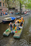 Queensday Celebration on a Raft Stock Photography