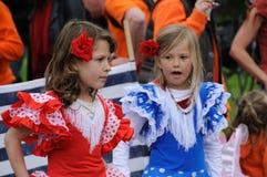 Queensdayvieringen in Amsterdam stock afbeelding