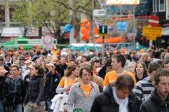 Queensdayvieringen in Amsterdam stock fotografie