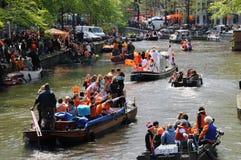 Queensdayvieringen in Amsterdam royalty-vrije stock foto's