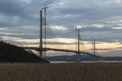 The Queensferry Crossing during construction stock photo