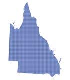 Queensland Australië Dot Map In Blue Royalty-vrije Stock Foto's