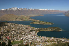 Queensland city. Aerial view of Queenstown city, Central Otago, South Island, New Zealand Stock Images