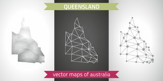 Queensland collection of vector design modern maps, gray and black and silver dot contour mosaic 3d map. Set of Queensland polygonal mosaic modern maps Stock Images
