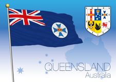 Queensland, flag of the state and coat of arms. Vector illustration Stock Images