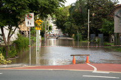 Queensland Floods: Montague Road Barrier Royalty Free Stock Images