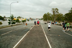 Queensland Floods: Road under water Royalty Free Stock Image