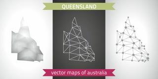 Queensland kolekcja wektorowego projekta map, szarej, czarnej i srebnej kropka konturu mozaiki 3d mapa nowożytna, Obrazy Stock