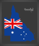 Queensland map with Australian national flag illustration. In artwork style Stock Image