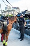 Queensland mounted policeman beside his horse in Brisbane. Brisbane, Australia - July 9, 2017: Queensland mounted police officer on the Goodwill Bridge crossing royalty free stock photo