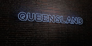 QUEENSLAND -Realistic Neon Sign on Brick Wall background - 3D rendered royalty free stock image. Can be used for online banner ads and direct mailers Royalty Free Stock Images