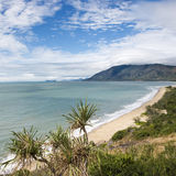 Queensland scenic coast. Scenic coastal view from Queensland Rex Lookout with mountains in background and grassy vegetation in foreground stock images