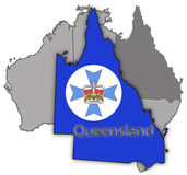 Queensland Territory And Flag. A Queensland map and seal on Australia  on a white background Stock Images