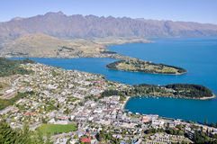 Queenstone and Wakatipu lake (New Zealand) Stock Photo