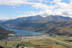 Queenstown. Lake Wakatipu, Frankton and Queenstown visible from The Remarkables - beautiful mountains in New Zealand Stock Images