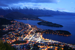 Queenstown. At night by Lake Wakatipu Stock Photos
