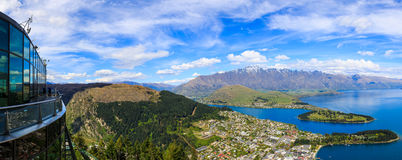 Queenstown aerial view from Gondola Skyline Royalty Free Stock Photo