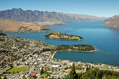 Queenstown. City of Queenstown and lake Wakatipu, New Zealand Royalty Free Stock Image