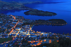 Queenstown cityscape at dusk stock image