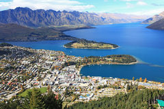 Queenstown cityscape from top Royalty Free Stock Photos