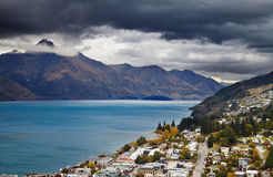 Queenstown cityscape and Wakatipu lake, New Zealand Royalty Free Stock Image