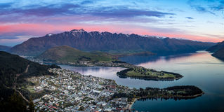 Queenstown at dusk Stock Photo
