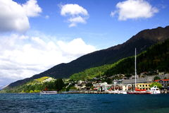 Queenstown harbor. Beautiful Queenstown harbor, New Zealand Royalty Free Stock Photos