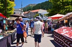 Queenstown konsthantverkmarknad, Nya Zeeland Arkivbilder