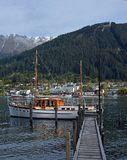 Queenstown & Lake Wakaripu Harbour & Boats, New Zealand royalty free stock images