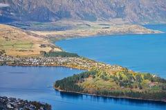 Queenstown and Lake Wakatipu, New Zealand Stock Photos