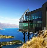 New Zealand, Beautiful Lake Mountains Landscape. Queenstown landscape, mountains and beautiful Lake Wakatipu. Skyline Gondola summit view. South Island, New royalty free stock photos