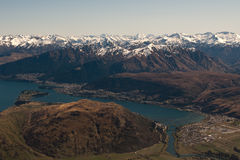 Queenstown Landscape aerial. Queenstown Landscape from above across lake Wakatipu Royalty Free Stock Image