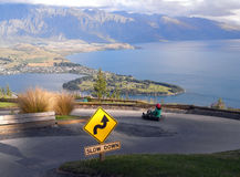Queenstown luge with view on the Wakatipu lake. Riding luge in Queenstown with magnificent views on the lake Wakatipu and The Remarkables mountains in the Stock Photo