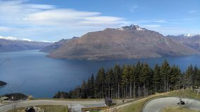 Queenstown mountain and luge. The luge in queenstown overlooking the mountain and scenery Royalty Free Stock Photo