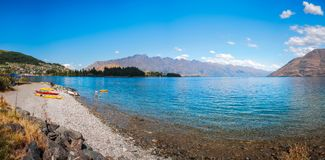 Water Sports in summer at Lake Wakatipu in Queenstown. Queenstown, New Zealad -December 22, 2017: Water Sports in summer at Lake Wakatipu in Queenstown, Southern Royalty Free Stock Photography