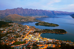 Queenstown New Zealand. Queenstown downtown aerial view New Zealand at Dusk Stock Photos