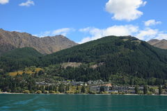 Queenstown, New Zealand, as seen from Lake Wakatipu. Stock Photo