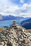 Queenstown New Zealand. Looking down on Queenstown, New Zealand and Lake Wakatipu Stock Images
