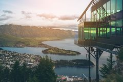 Queenstown, New Zealand in Panoramic View. Queenstown, New Zealand and The Rarkables in Panoramic View Stock Image